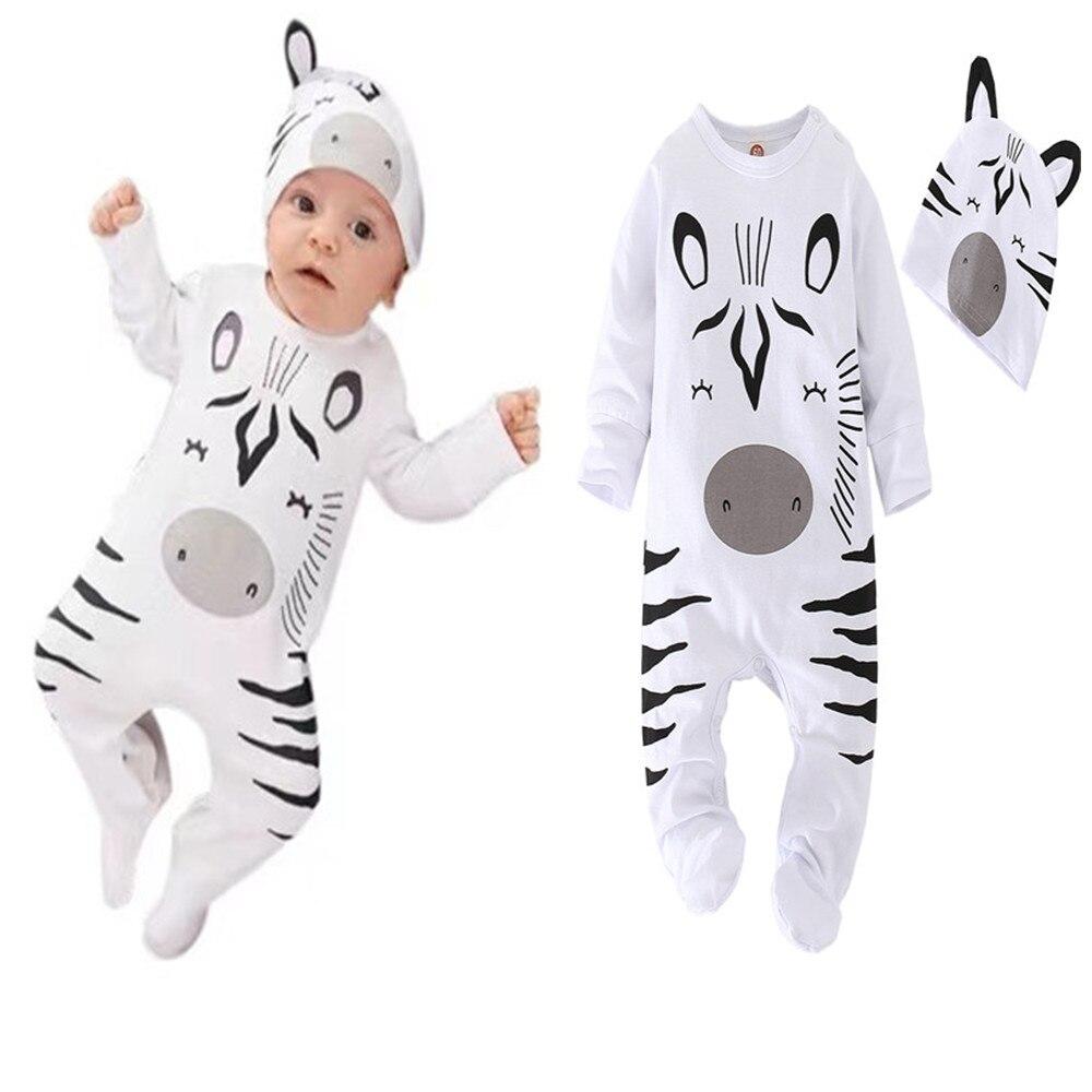 Комбинезоны и шапка для маленьких мальчиков с длинным рукавом из хлопка с милым рисунком животных Одежда для новорожденных мальчиков и дев...