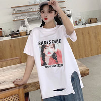 Short sleeve T shirt for Women 2019 New Style Cool with Holes Hong Kong Style Harajuku Loose Fit Korean style BF Style Tops Fash