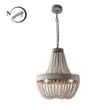 Antyczne Retro loftowa vintage rustykalny okrągły drewniany naszyjnik z koralików lampa z led do salonu hotelowego bar cafe shop E27 lampy światła