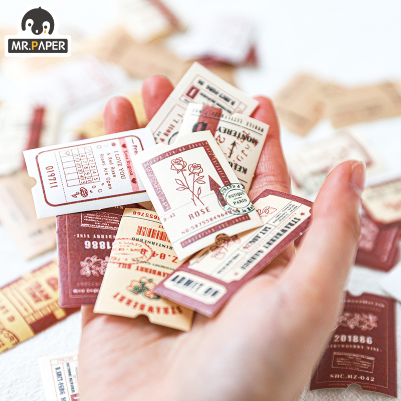 Mr.paper 45Pcs/pac Vintage Ticket Travel Creative Stickers Label Bullet Journal Album Srapbooking Craft Deco Stationery Stickers