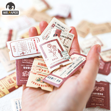 Mr.paper 45Pcs/pac Vintage Ticket Travel Creative Stickers Label Bullet Journal Album Srapbooking Craft Deco Stationery