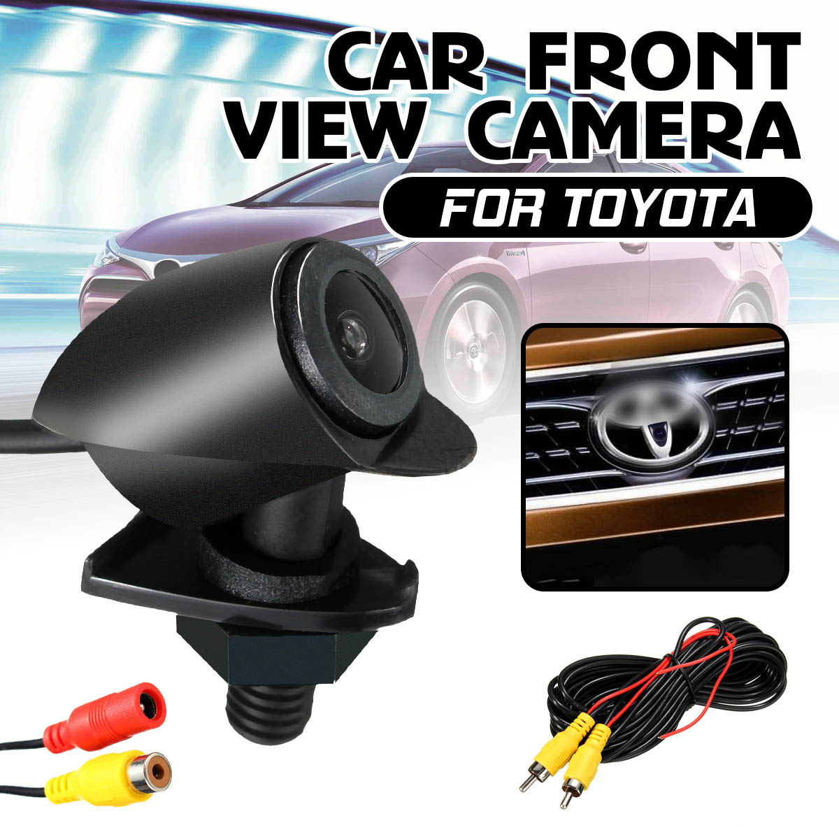 Car Logo Embedded 170° Full HD CCD Front View Camera for Toyota Camry Aurion
