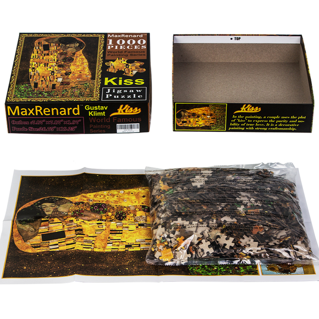 MaxRenard Jigsaw Puzzles 1000 Pieces 50*70cm The Kiss Wooden Assembling Painting World Masterpiece Puzzles Toys for Adults Games 3
