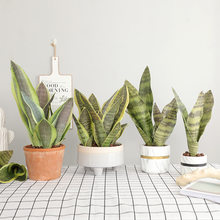 1 pièces plantes artificielles faux Sansevieria branche feuilles en plastique intérieur tigre fourrure en pot bonsaï bureau hôtel faux plantes décor à la maison