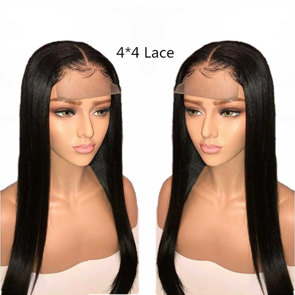4x4 Lace Closure Wig Designed For African Human Hair Wigs For Black Women Brazilian Hair Remy Straight Top Human Hair Toppers