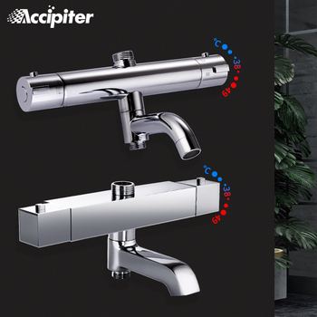 Bathroom Shower Mixer Brass Chrome Bathroom Thermostatic Shower Faucet Bath&Shower Suite Accessories Water Mixer