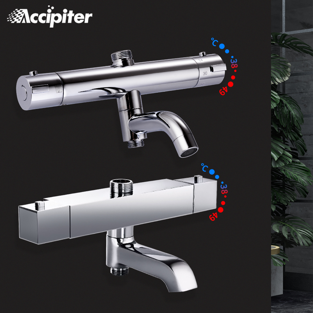 Cuarto de baño mezclador de ducha de latón cromado baño termostático grifo de ducha y baño accesorios de baño mezclador de agua