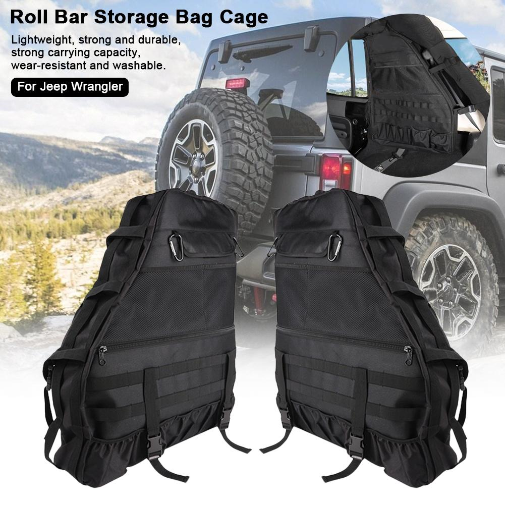 Multifunctional Roll Bar Storage Bag Cage For 1997-2018 Jeep Wrangler JK JKU TJ LJ 4-Door With Multi-Pockets Organizer Cargo Bag