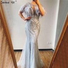 Silber Federn Schal Garn Sexy Abendkleider 2020 Dubai Meerjungfrau V ausschnitt Friesen Diamant Formale Kleid Ruhigen Hill LA70355