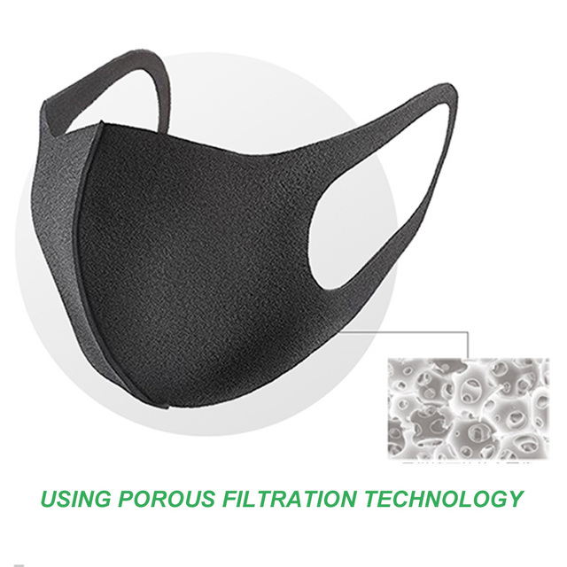 1pcs Nano-Polyurethane Black Mouth Mask Anti Dust Mask Activated Carbon Windproof Mouth-Muffle Bacteria Proof Flu Face Masks 5