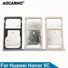 Aocarmo Cinza/Prata/Ouro SD MicroSD Titular Nano Bandeja Sim Card Slot Para Huawei Honor 5C Parte Substituição