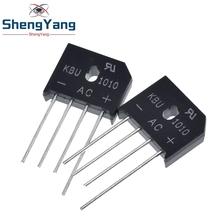 Diodo de KBU 1010 con cremallera, 5 unidades por lote, KBU1010 Puente rectificador de diodo, 10A, 1000V, nuevo
