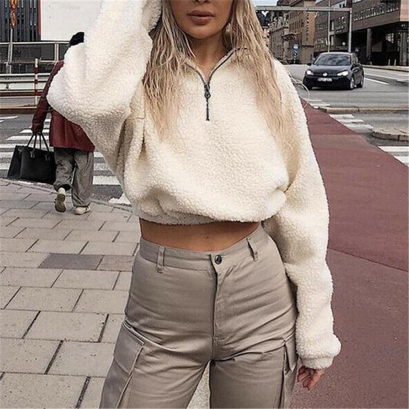 Hirigin Harajuku Sweatshirt Newest Women's Autumn Winter Warm Fluffy Pullovers Female Long Sleeves Zip Up Jumper Tops Wear Coat