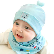 цены Newborn Baby Hat and Scarf Set Warm Cute Cartoon Beanie Ear Cap Baby Photography Props Spring Autumn Girl Boy Accessories