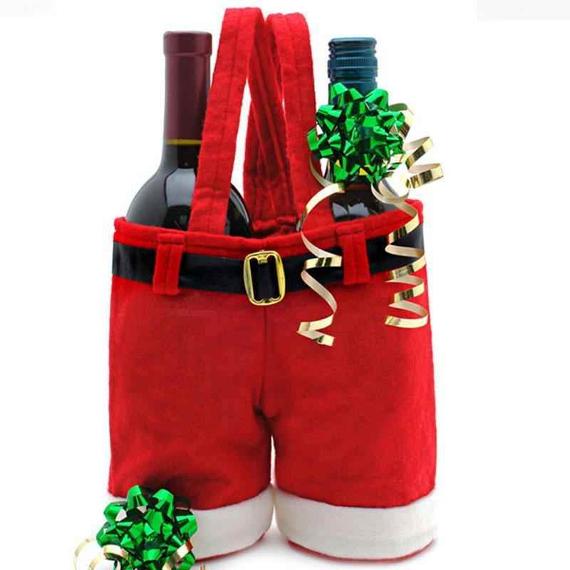 Christmas Wine Bottle Case Cover Holder Carry Santa Claus Pant Merry Christmas Suspender Pants Insulated HOT Handbag Candy Package Gift Bags Picnic