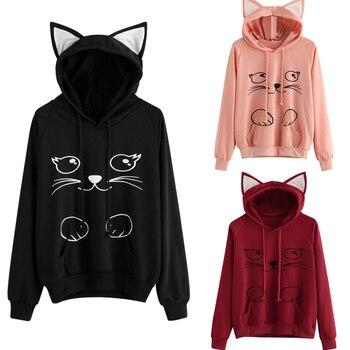 College Sweatshirt Cat Ear Face Print Hoodies School Poleron Mujer 2020 Women Cute Clothes Pullover Pocket Hoodie Kawaii Fashion bow back two tone cat ear hoodie