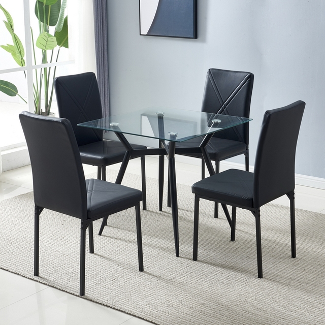80*80*75cm Glass Dining Table Set 44*53*96cm 4pcs Dining Chair for Most living room Balcony or Dining room 2
