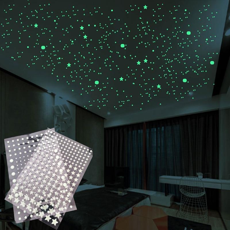 202pcs/set 3D Luminous Stars Dots Wall Sticker Kids Room Room Home Decor Decal Glow In The Dark DIY Stickers