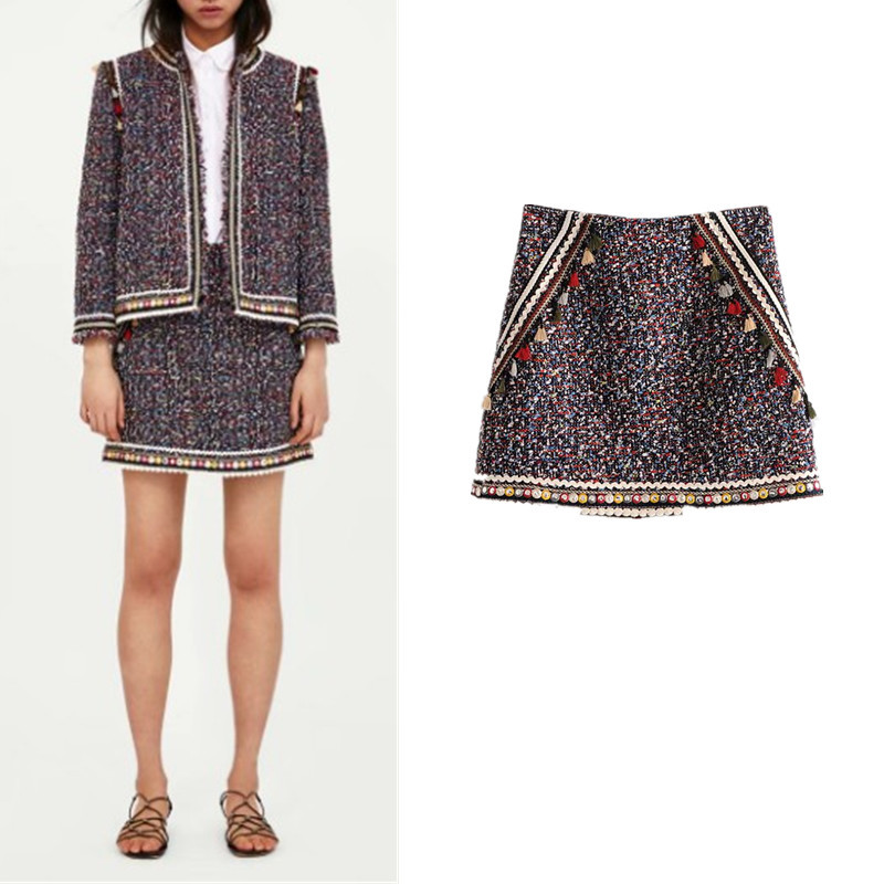 Europe And America 2018 Spring And Summer New Crocheting Soft It Skirt Skirt Short Skirt-Ethnic-Style Color Women's Fashion J827