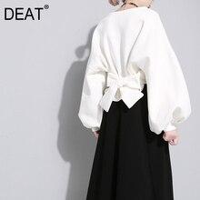 [DEAT] 2020 새로운 가을 겨울 라운드 넥 긴 소매 단색 블랙 다시 붕대 활 느슨한 스웨터 여성 패션 JE14101