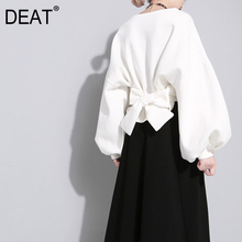 [DEAT] 2020 New Autumn Winter Round Neck Long Sleeve Solid Color Black Back Bandage Bow Loose Sweatshirt Women Fashion  JE14101