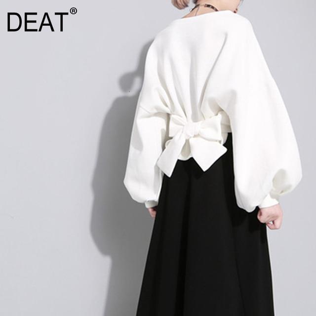[Deat] 2020 novo outono inverno em torno do pescoço manga longa cor sólida preto voltar bandagem arco solto moletom moda feminina je14101