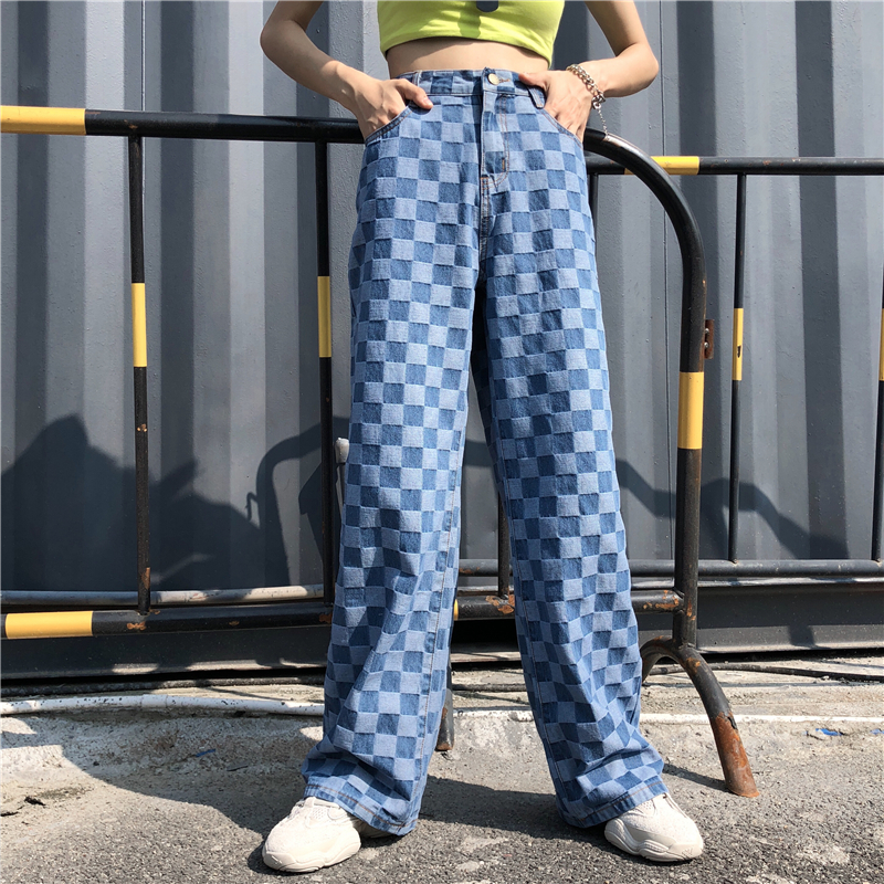 2020new Cotton Checkered Jeans Women Vintage 90s Boyfriend High Waist Denim Pants Female Plaid Wide Leg Jeans Straight Trousers