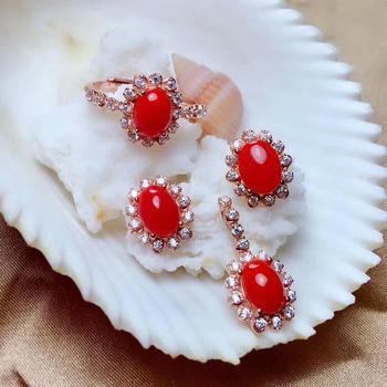 shilovem 925 sterling silver Natural red coral pendants rings earrings women plant party send necklace gift new mtz0608023agsh