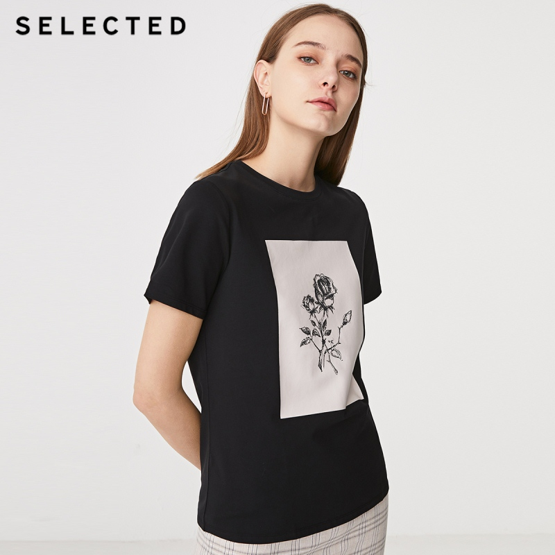 SELECTED Women's Summer Printed Short-sleeved T-shirt S|419201540