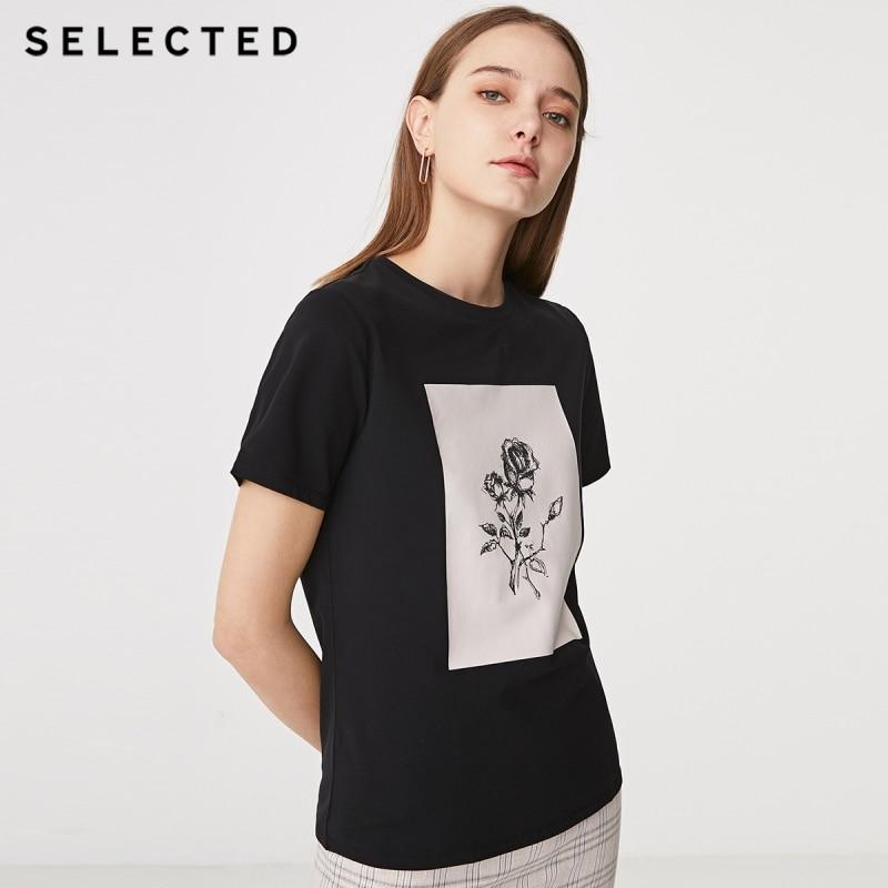 SELECTED Women's Summer Printed Short-sleeved T-shirt S 419201540