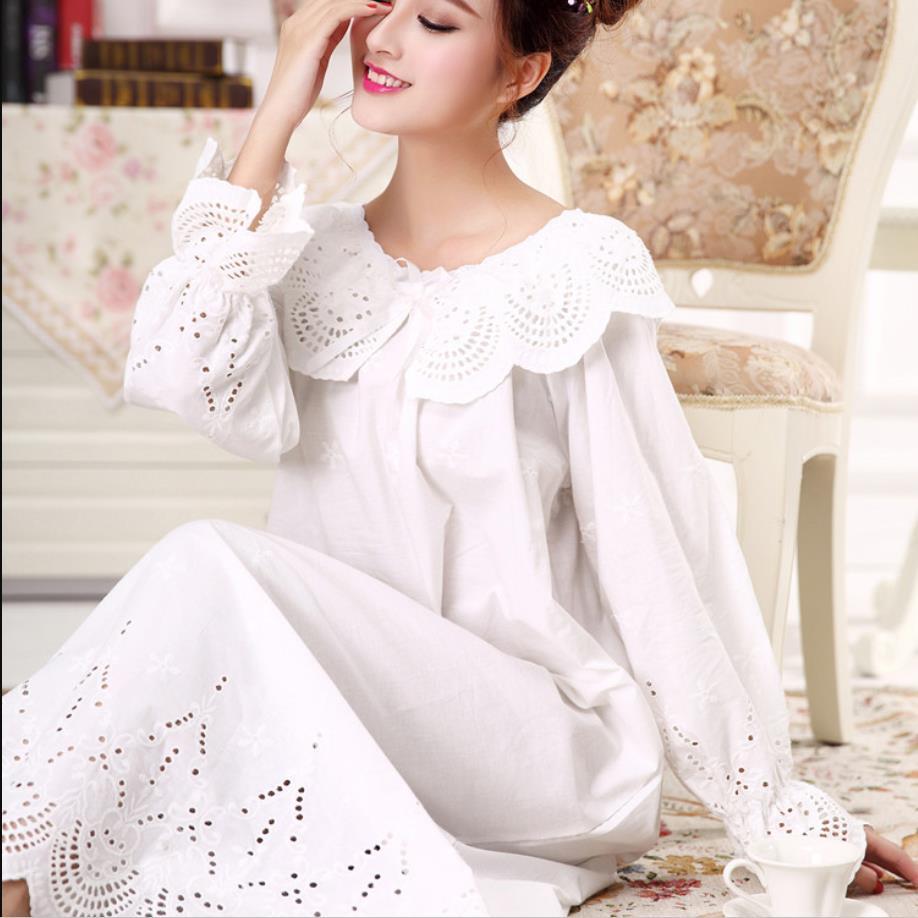 100% Cotton Women Sleepwear Princess Cotton Sleeping Dress Female Long Sleeve Nightgown Elegant Romantic Pink Purple White Color