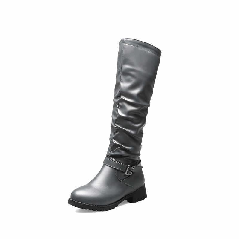 MORAZORA 2020 yeni varış kadın diz yüksek çizmeler zip toka sonbahar binici çizmeleri rahat alçak topuklu ayakkabı kadın büyük boy 46