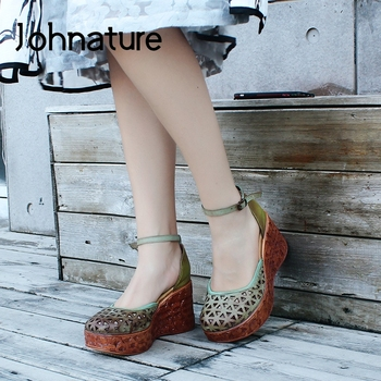 Johnature High Heel Sandals 2020 New Spring Summer Genuine Leather Women Shoes Retro Wedges Buckle Strap Casual Ladies Sandals