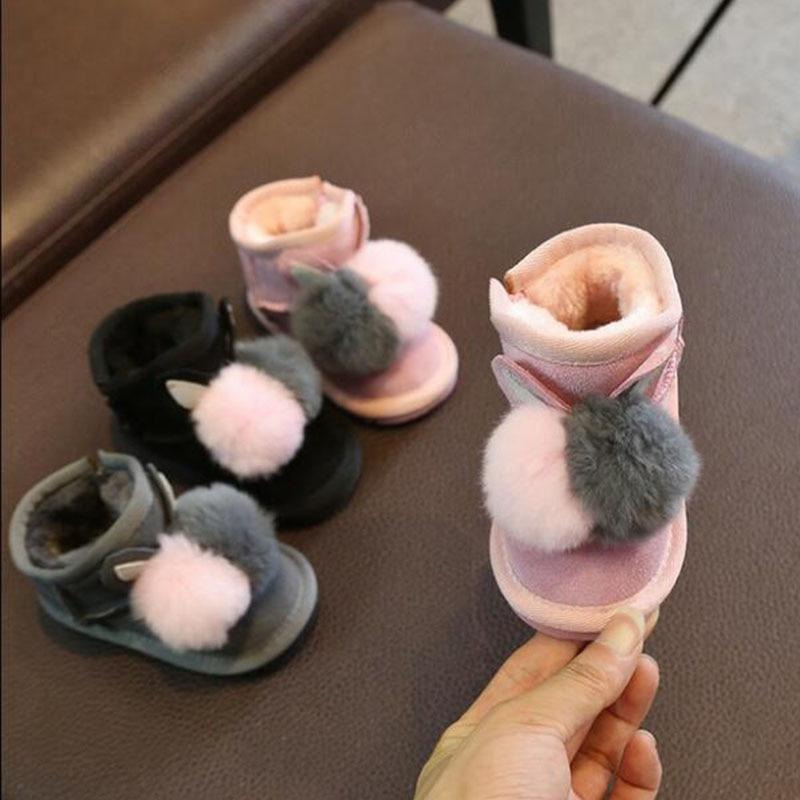 Genuine Leather Baby Snow Boots Girls Plus Velvet Thick Winter Boots Rex Rabbit Fur Ball Decoration Children Boots