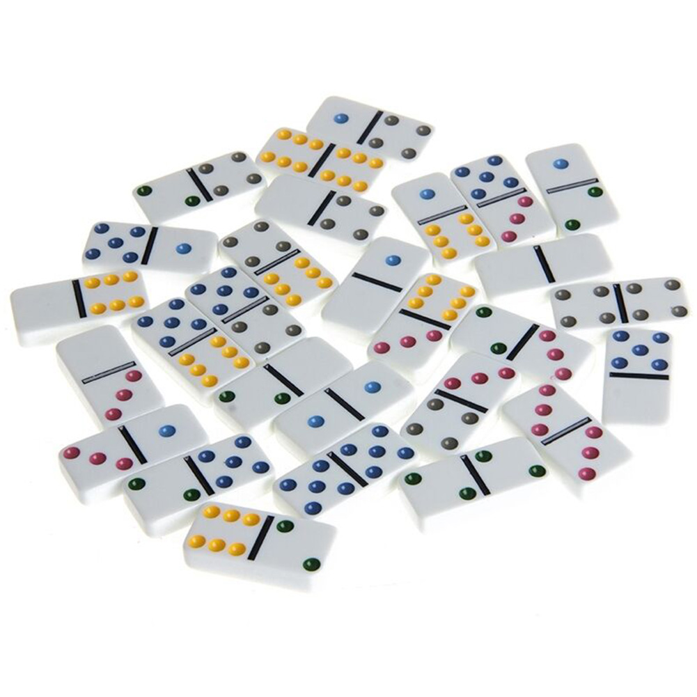 Home Board Game With Iron Box Gift Party Entertainment Tabletop Smooth Funny Dominoes Set Club Double 6 Kids Adults Color Dot