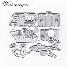 WISHMETYOU Transport Travel Plane Ship Car Luggage Camera Telescope Metal Cutting Dies Embossing Scrapbook Handcrafted Album DIY