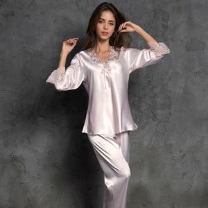 Image 5 - SP&CITY Women V Neck Bow Pajamas Silk Sleepwear Long Sleeves Home Wear Lace Held Sexy Lingerie Pyjama Long Femme Soft Lingerie