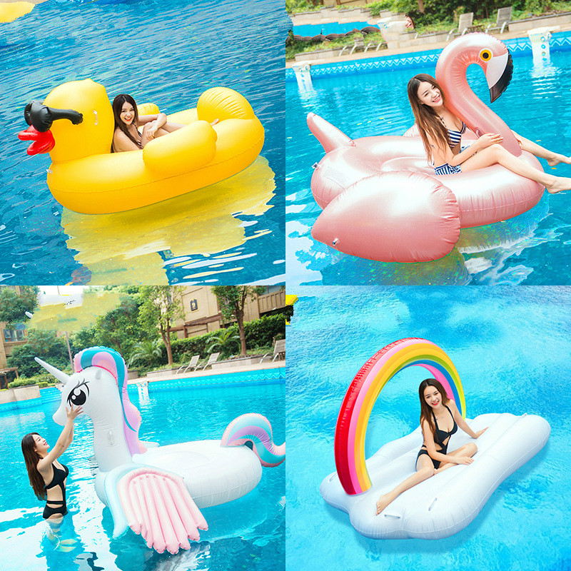 Adult Super Flamingo Swan Water Inflatable Mount Float Bed Float Row Swimming Circle Inflatable Sofa Inflatable Seat