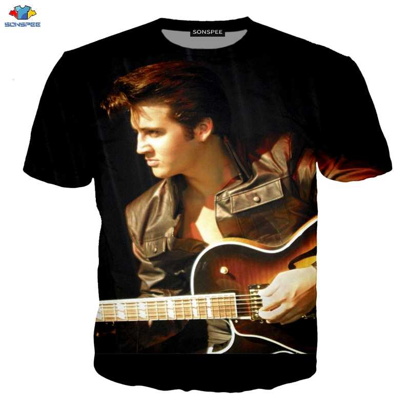 SONSPEE New Popular ELVIS Presley  Men's T-Shirt  King Of Rock 3D Printing Fashion Cool Short-Sleeved T-Shirt Funny Kids T-Shirt