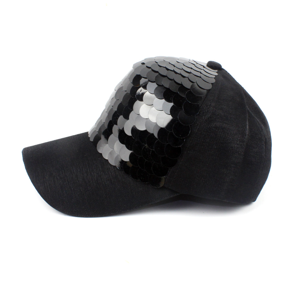 Image 3 - New Fashion black Snapback Baseball Cap cotton Gorras Caps Hats Woman Sequin Hip Hop Hats For Men Women-in Men's Baseball Caps from Apparel Accessories on AliExpress