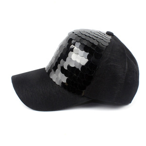Image 3 - New Fashion black Snapback Baseball Cap cotton Gorras Caps Hats Woman Sequin Hip Hop Hats For Men Women