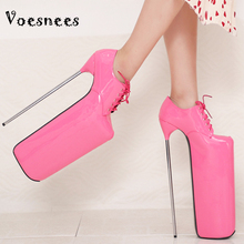 Women's Shoes Platform Thin-Heels Spring Lace-Up And Waterproof Pu Voesnees 30cm Pumps