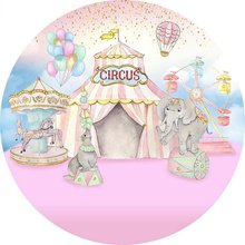 Photography Background Baby Shower Circus Backdrops for Girl first Birthday Banner Table Cover Elephant Round Backdrop