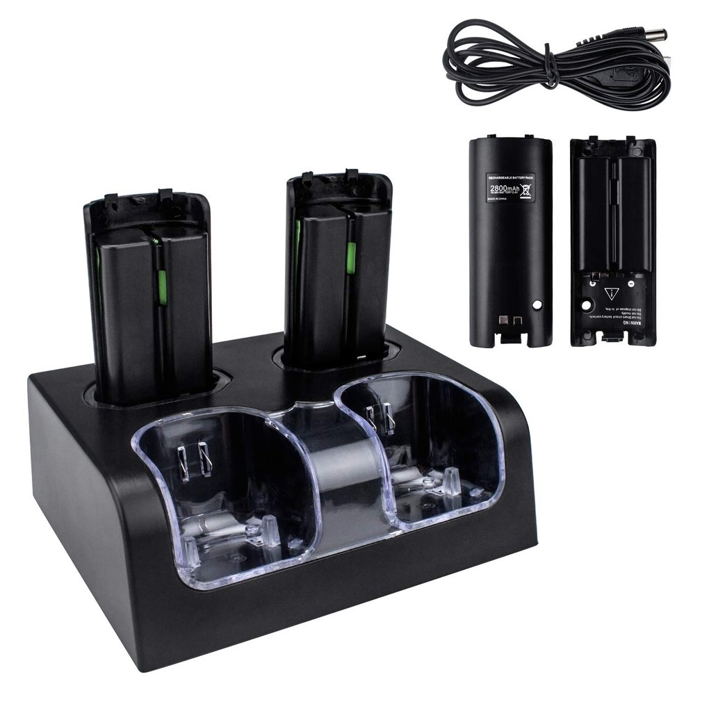4 In 1 Led Remote Control Charging Dock Station + 4x2800mAh Battery For Wii U