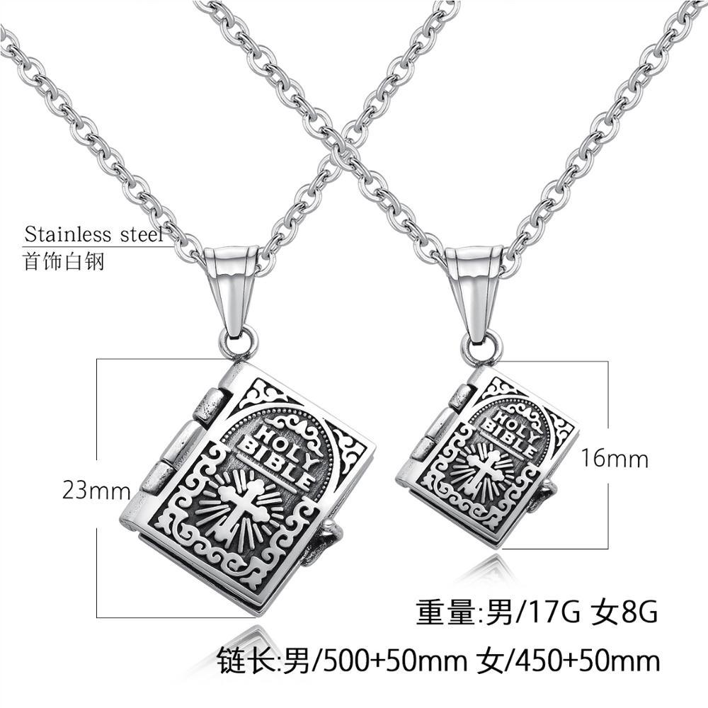 Marque bijoux rétro croix Bible hommes et femmes amoureux colliers peuvent ouvrir des pendentifs de prière pour des cadeaux de lettrage personnalisés - 5