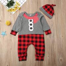 2019 Unisex Baby Clothes Winter Plaid Romper Jumpsuit Hat Boy Girl Sweater Clothing Outfits