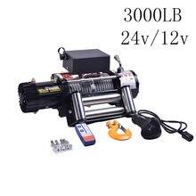 12V/24V cabrestante eléctrico 3000lb fuera de la carretera coche pesado remolque ATV Control remoto 1360kg 8M de Cable de acero cabrestantes eléctricos Kit