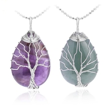 Natural Stone Pendant Tiger Eye Powder Quartz Amethyst Lapel Necklace Water Drop Flat Bead Female For Healing Jewelry