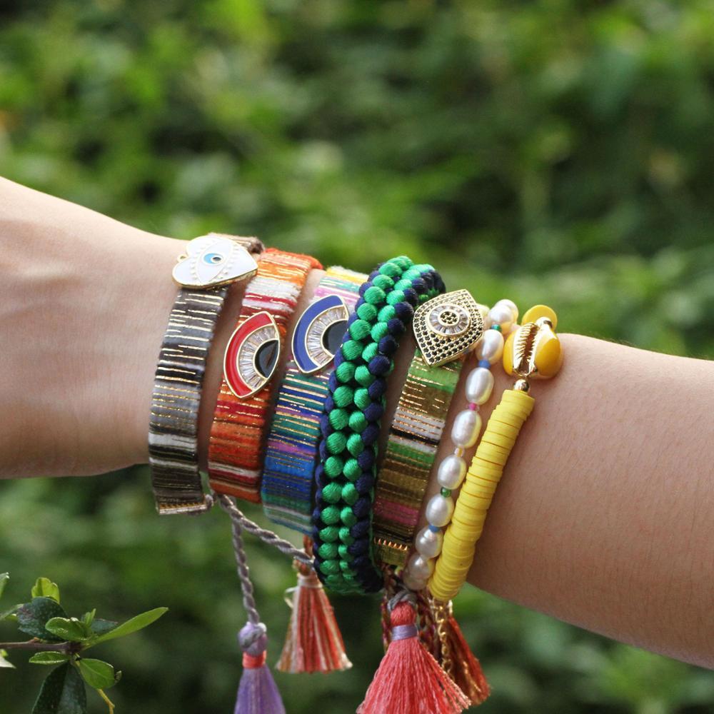 summer oil drip men accessories evil eye friendship bracelets boho women bracelet acier inoxydable femme pierre naturelle