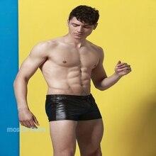 10pcs  2021 new lace-up men's swimming trunks imitation patent leather swimsuit boxer sports shorts men's underwear
